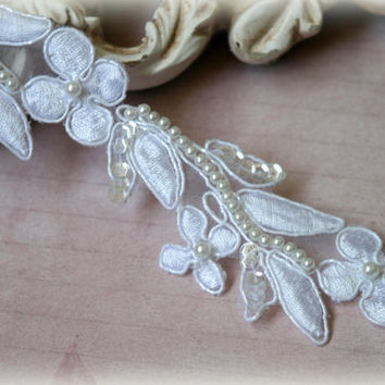 White Pearl and Sequins Beaded Alencon Lace Trim for Bridal Gowns, Veils, Couture Gowns, Sashes, Headbands, Dresses, Crafting, LA-155