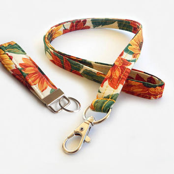 Sunflower Lanyard Set / Harvest / Autumn Keychain / Sunflowers / Key Fob / ID Badge Holder / Fabric Lanyard / Floral Print / Back to School