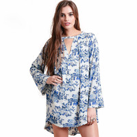 Blue Floral Vintage Print Keyhole Cutout Loose  Dress