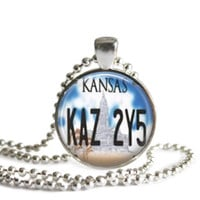 Kansas License Plate Car Tag Necklace Supernatural Jewelry