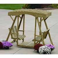 LuxCraft Rollback Double Lawn Glider With Lattice Roof