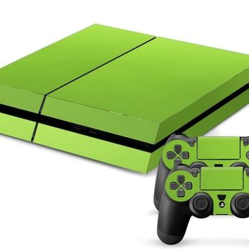 Green Leather Print PS4 Skin + 2 Controller Skins