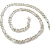 Men's Italian Sterling Figaro Necklace Chain 24 Inches