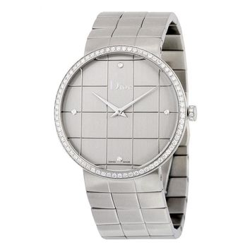 Dior La D De Dior Silver Dial Stainless Steel Ladies Watch CD043113M001