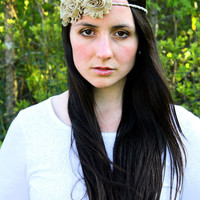 Romantic Gatsby Mocha Brown Vintage Inspired/Boho Rope and Shabby Chic Flower Headband, 1920s
