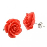 16mm Natural Dyed Simulated Coral Carved Rose Flower Earrings