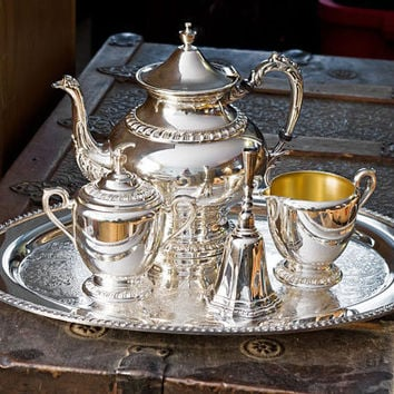 Sheridan Silver Teapot, Rogers Waiter Tray, Creamer, Sugar and Bell Silver Service, Silverplate