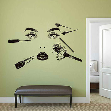 Girl Face Wall Decal Model Girl Wall Decal Beauty Salon Tools Make Up Wall Decals Girls Eyes lips Wall Decor Beauty Salon Wall Decor kik3397