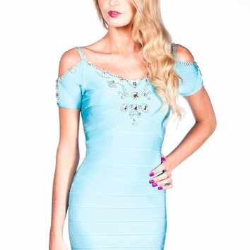 Light Blue Rhinestone Cutout Bandage Dress