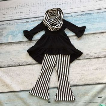 baby girls fall 3 pieces scarf clothing girls black top outfits baby girls boutique clothes girls fashion loose pants clothing