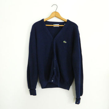 Izod Lacoste vintage cardigan / Navy blue long sleeve sweater / 80s mens vintage jacket size L