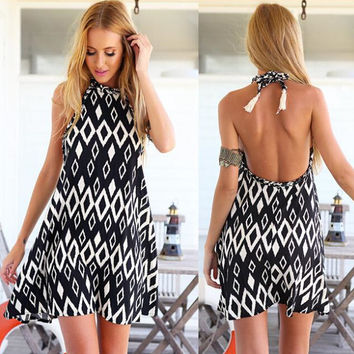 Diamond Printed Halter Backless Beach Dress