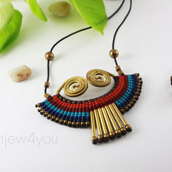 Cleopatra Il Egyptian Necklace Leather Necklace Egypt Necklace Wire wrapped Brass everyday Jewelry Fashion necklace by siamjew4you