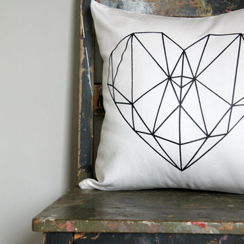 Geo Heart Pillow Cover,Your colour print Love heart cushion, girls gold bedroom decor, navy on white pillow, white blue heart cushion