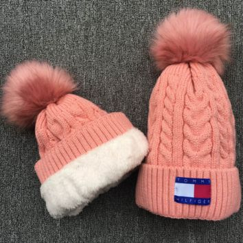 Tommy hilfiger Women Men Embroidery Beanies Knit Hat Warm Woolen Hat Pink