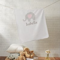 Cute Elephant Baby Blanket Pink Taupe Stripes Girl