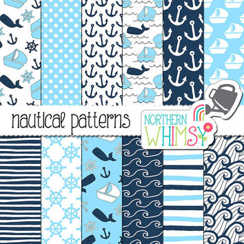 Nautical Digital Paper - aqua and navy blue - hand drawn boat, whale and anchor seamless patterns - scrapbook paper - commercial use OK