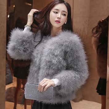 Winter Women Coat Faux Ostrich Fur Coats Ladies Shaggy Coat Long Sleeve Fluffy Turkey Feather Fourrure Female Plus Size 3XL Q4