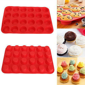 24 Cup Cavity Muffin Silicone Mini Cookies Cupcake Bakeware Pan Tray Mould EW