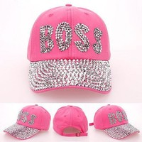 Fashion Women Drill Pointed Denim Rhinestones CAPS Unisex Sun Hat Red Color  BOSS point drill cowboy baseball cap Brand Hat Cap