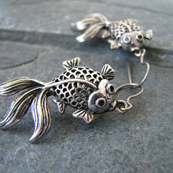 Antiqued Silver Toned Koi Fish Earrings
