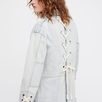 Free People Denim Lace-Up Jacket