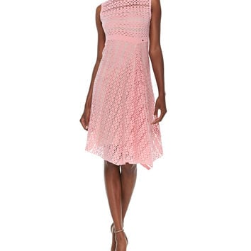 Sleeveless Mesh Illusion Dress, Size: