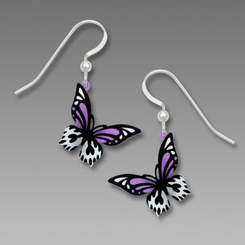 Sienna Sky Earrings - Butterfly in Bright Violet, Black and White