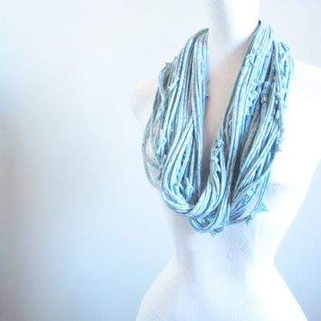 Dusk Blue Infinity Scarf Robin Egg Blue Spring Fashion White Gray Dot Pattern Pastel Blue Circle Scarf Upcycled Clothing