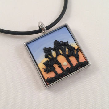 Tree Silhouette Pendant Necklace, Polymer Clay Dimensional Nature Jewelry