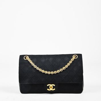"""VINTAGE Chanel Black Quilted Knit Leather Medium """"Classic 2.55 Double Flap"""" Bag"""
