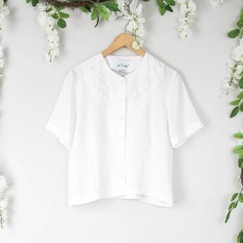 Vintage White Button Up Blouse