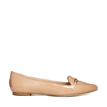 London Rebel Bar Detail Flat Pointed Shoes