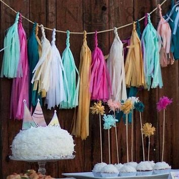 ONETOW 50pcs=10packs Event Party Supplies Birthday 14inch (35cm) Tissue Paper Party Paper Tassel Festival Tissue Paper Tassel Garland