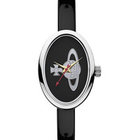 Women's Black Patent Leather Oval Watch