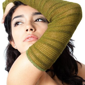 Arm Warmers: Stretch Knit Shadow Stripe Mesh ArmWarmers w/Thumb Hole by KD dance NY Made In USA