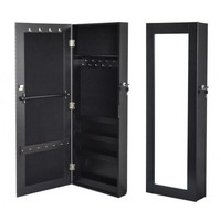 Wooden Black Mirrored Jewelry Armoire Wall Mount Organizer Cabinet