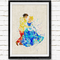 Cinderella and Prince Charming Disney Watercolor Art Print, Baby Nursery Wall Art Poster, Home Decor, Not Framed, Buy 2 Get 1 Free!