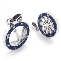 Men's Sailor Styled Compass Earring Set Titanium Steel