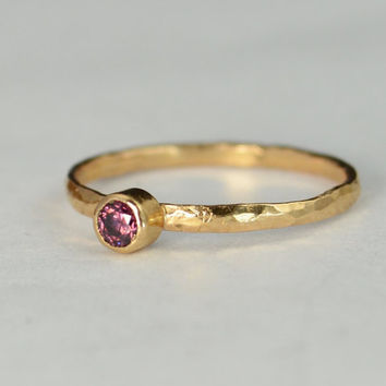 Classic Solid 14k Rose Gold Alexandrite Ring