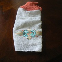 Aztec Design Hanging Dish Towel With Mango Hand Knit Topper and Ties