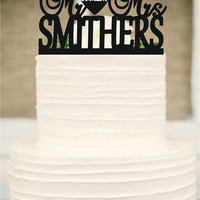 Personalized Mr and Mrs Custom Wedding Cake Topper with your last name and event day - Monogram Wedding Cake Topper - Mr and Mrs Cake Topper