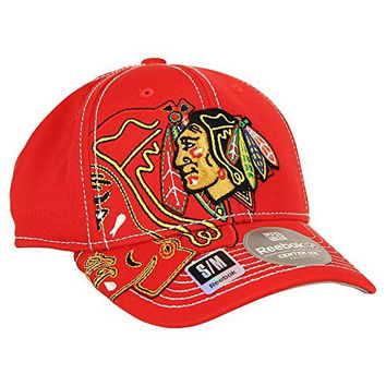 Reebok NHL Team Logo Center Ice Stretch Fit Hat (Chicago Blackhawks, L/XL)