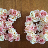 Custom Flower Wooden Letters-- Pink/Cream Roses-- Sorority, Nursery