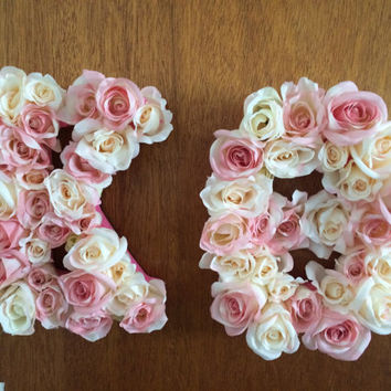 custom flower wooden letters pinkcream roses sorority nursery