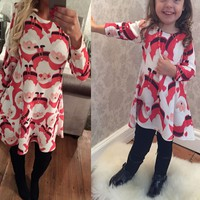 Christmas Toddler Baby Girl Dress Kids Party Pageant Princess Dresses long sleeve Santa Claus print children clothing
