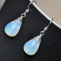 Opalite Earrings, Sterling Silver earrings, briolette earrings, dangle earrings, elegant, gift for her