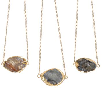 24K Gold Plated Shimmering Druzy Necklace
