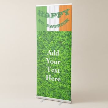 Happy St. Patrick's Day Irish Flag Shamrock Paddy Retractable Banner