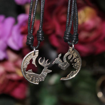 Buck and Doe necklaces one dollar coin